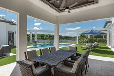 Airy, covered lanai dining area. Lanai, Outdoor Furniture, Outdoor Decor, Naples, Dining Area, Summer Vibes, Summer Houses, Villa, Patio