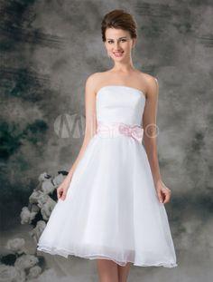 315ffa5d46d Romantic White A-line Strapless Bow Organza Bridal Wedding Dress
