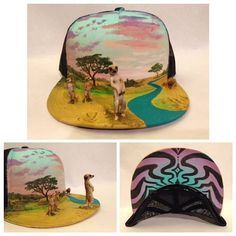 This artist hand-builds crazy 3D worlds on snap-back hats Painted Hats, Hand Painted, Galaxy Background, Vintage Princess, Background Vintage, Snapback, Handmade Gifts, 3d, Etsy