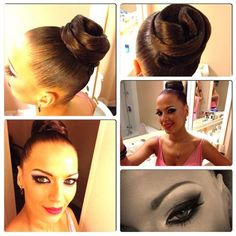 High twist bun and pink tinted eye makeup. Great clean look for latin and standard ballroom. Visit http://ballroomguide.com/comp/hair_make_up.html for more hair and makeup info