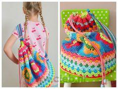Crocheted gymtas, ook de kleuren zijn weer geweldig