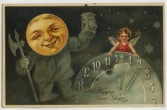 New Year Man in The Moon Hourglass Cherub Clock c1910 Embossed Postcard | eBay