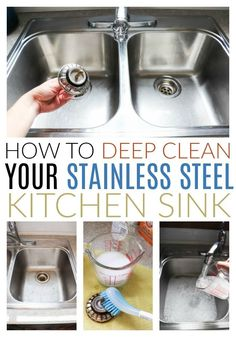 Tips for deep cleaning a stainless steel sink; getting rid of rust stains; how to get rid of scratches in minutes! Tips for deep cleaning a stainless steel sink; getting rid of rust stains; how to get rid of scratches in minutes! Deep Cleaning Tips, Household Cleaning Tips, House Cleaning Tips, Spring Cleaning, Cleaning Hacks, Kitchen Cleaning, Cleaning Products, Diy Hacks, Toilet Cleaning Tips