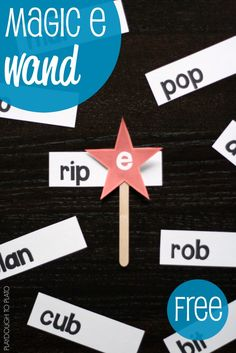 FREE Magic E Wand. Hands-on way to teach kids about CVCe words. This looks like a fun way to get the point across.