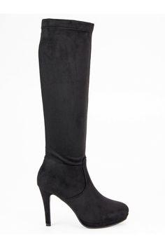Dámske čierne čižmy pod koleno Small Swann K088-2A-B Platform, Outfit, Boots, Heels, Fashion, Outfits, Crotch Boots, Heel, Moda