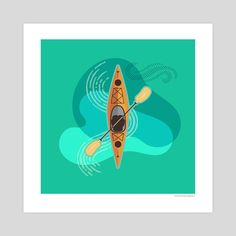This is a gallery-quality giclèe art print on cotton rag archival paper, printed with archival inks. Book Illustration, Illustrations, Kayaking Ideas, Charley Harper, Kayak Paddle, Graphic Design Pattern, Open Water, Rowing, Art Portfolio