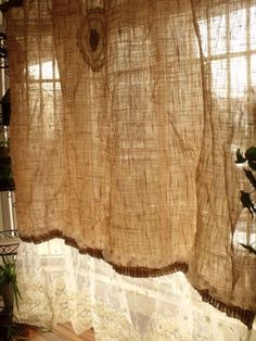 72X74 Vtg Lace French Door Shabby Rustic Chic Burlap Curtain Ruffle Flower