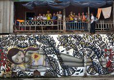 Street artist Seth Globepainter au cambodge