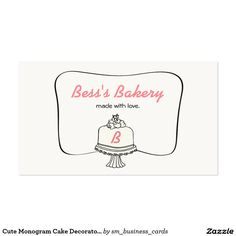 Cute monogram cake decorator baker bakery business card bakery cute monogram cake decorator baker bakery business card 0 great for weeding cake decorators dessert reheart Choice Image