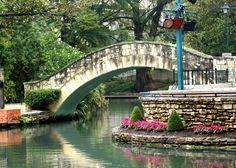 San Antonio River Walk--watercolor stone bridge and colorful plants