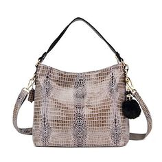 Realer Soft Leather Ladies Handbags Tote Bags with Zipper for Women Cross Over Shoulder Bags Gray -- Visit the image link more details. Note:It is affiliate link to Amazon.