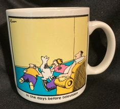 The Far Side Mug In The Days Before Television Coffee Mug Cup 12 Oz 1982 Larson #TheFarSide #InTheDaysBeforeTelevision
