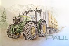 For a little boy, this John Deere is now the highlight in the nursery. As a wall decoration, the tractor is doing quite well. This John Deere tractor might now be the highlight of a little boy's bedroom. John Deere Bedroom, Mustang Drawing, Boy Room, Kids Room, John Deere Decor, Tractor Drawing, Old John Deere Tractors, Spongebob Drawings, Farm Pictures
