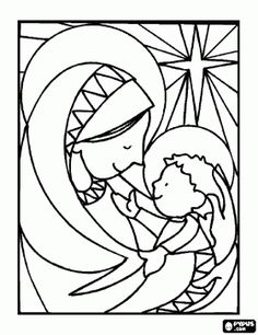 The baby Jesus in the arms of his mother Mary with the star at the bottom coloring page