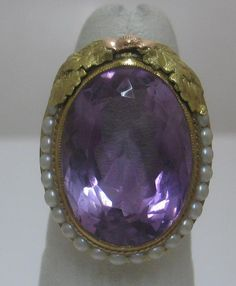 Vintage Amethyst Pearl 14k Green Rose Yellow Gold Ring