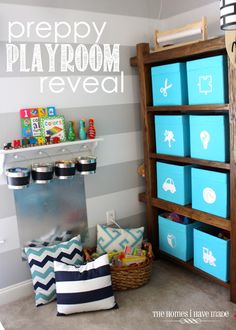 turquoise, navy, and white preppy playroom reveal