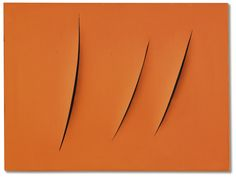 Lucio Fontana 1899 - 1968 CONCETTO SPAZIALE, ATTESE SIGNED, TITLED AND INSCRIBED ON THE REVERSE, WATERPAINT ON CANVAS. EXECUTED IN 1963