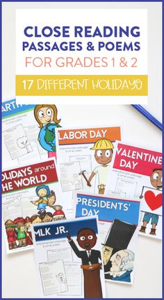 Holiday close read passages, questions and a fun poems for your students to read and respond to!This is a fun way for students to practice their close reading skills as well as expand upon their vocabulary while reading a nonfiction passage that teaches them about their favorite holidays! Also included is a fun, fiction poem that students can read and practice skills like rhyming and visualizing.