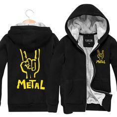 f55e1b3e5c34 Hoodies   Sweatshirts · Fashion 2015 New Thick Warm Winter Zip Sportswear  Black Metal Rock Band Cardigan Plus Velvet Jacket