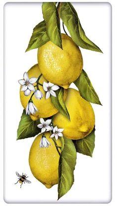 Lovely Hanging Lemons 100% Cotton Flour Sack Dish Towel Tea Towel