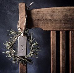 Wish tag, tiny wreath ,wooden chair.