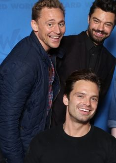 Tom Hiddleston (Loki), Dominic Cooper (Howard Stark), and Sebastian Stan (Bucky Barnes/The Winter Soldier)