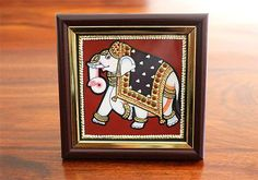 Indian Tanjore Elephant Painting and many more exquisite handmade tanjore inspired products available exclusively at Desically Ethnic Kalamkari Painting, Tanjore Painting, Kerala Mural Painting, Painting Art, Madhubani Art, Indian Folk Art, God Pictures, Traditional Paintings, Global Art