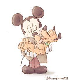 Mickey and Pluto! Disney Pixar, Pluto Disney, Arte Disney, Disney Films, Disney And Dreamworks, Mickey Mouse Art, Mickey Mouse And Friends, Disney Fanatic, Disney Addict