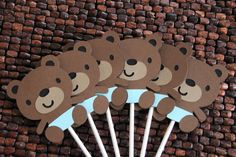 Boy Teddy Bear Baby Shower Cupcake Toppers