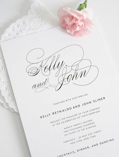 This gorgeous script wedding invitation can be customized with any names long or short! A professional designer will customize the cards to create a personalized invite just for you - http://www.shineweddinginvitations.com/wedding-invitations/script-elegance-wedding-invitations