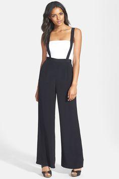 Black pants with suspender straps