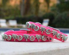Dog Collar, Pink Flamingo Dog Collar, Palm Tree and Flamingo Dog Collar Silk Thread Bangles, Thread Jewellery, Jewelry, Best Pet Dogs, Pink Dog Collars, Bugle Beads, Polymer Clay Beads, Pink Flamingos, Dog Supplies