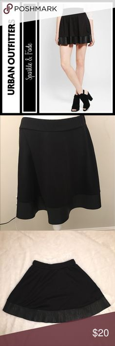 "Urban Outfitters Faux Leather trim circle skirt EUC, length is 17"" from top to bottom - size medium, zips in the back and has elastic around the waist - brand is sparkle & fade from urban Outfitters Urban Outfitters Skirts Circle & Skater"