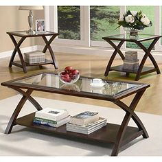 Standard Furniture Norway 3 Piece Coffee Table Set In Merlot And House