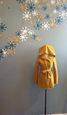 Mustard double breasted jacket w/ hood by Ya. $88.00