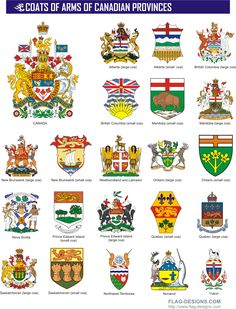 Coat of Arms for each Province in Canada Canadian Facts, Canadian Things, I Am Canadian, Canadian History, Canadian Coat Of Arms, Canadian Symbols, Banff, All About Canada, Meanwhile In Canada
