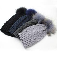928630f8619 2017 New Womens Warm Fleece Inside Beanie Hats Winter Mink Raccoon Fur  Pompom Hat Female Cap-in Skullies   Beanies from Women s Clothing …