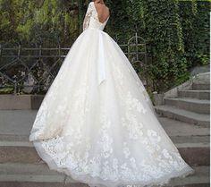 2018 New Vestidos De Novia Lace Wedding Dress Three Quarter Sleeves Backless