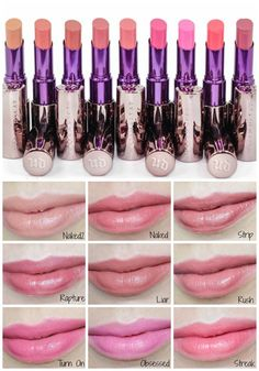 Urban Decay Revolution Lipsticks Review Photos and Swatches in Naked, Naked2, Strip, Rapture, Liar, Rush, Turn On, Obsessed and Streak