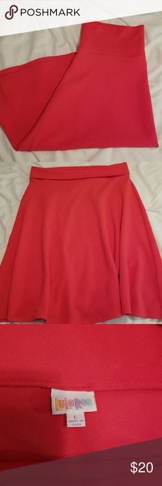 "🌈LLR Azure flare skirt🏳️‍🌈 Coral Azure flare skirt from Lularoe. Excellent condition!! 97% Polyester/3% Spandex. 27"" in length. LuLaRoe Skirts A-Line or Full"