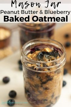 Need an easy, healthy meal prep breakfast idea: Mason Jar Peanut Butter Blueberry Baked Oatmeal is the perfect addition to your day. Healthy Snacks For Diabetics, Healthy Meal Prep, Healthy Smoothies, Healthy Recipes, Oatmeal Recipes, Skinny Recipes, Healthy Food, Healthy Eating, Breakfast Bake