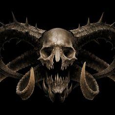 satans-skull-skull-horns-satan-hell-horror-fear-by-blaz-porenta. Fantasy Demon, Demon Art, Fantasy Art, Skull With Horns, Skull And Bones, Deer Skulls, Animal Skulls, History Channel, Crane