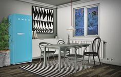 Gray ( By Request ) • 2 Meshes Dining Chair • Barstool • 3 Meshes Dining Table ( 1x1, 2x1 & 3x1 ) • Smeg Fridge ( 10 Colors option and door animation worked ) Download: [X] Credits: P10DL, Pocci &...