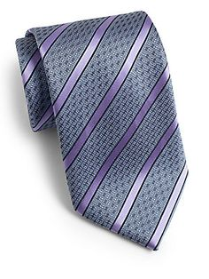 Brioni Framed Stripe Silk Tie