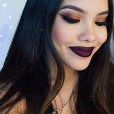 Classic smokey dark blended eye makeup color, colorful eyeshadow, black eyeliner wing, eyebrow shape/ brows, highlights/ lowlights contour, airbrush effect, lips, deep red lipstick tone