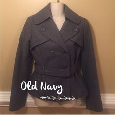 ❄️Coat❄️ Adorable dark gray peacoat with belted waist! In excellent condition The shell is made of 48% recycled wool, 26% acrylic, 29% polyester, 5% nylon and 4% other fibers. The lining is 100% polyester. No TradesNo PayPal Please ask any questions you may have  Old Navy Jackets & Coats Pea Coats