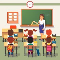 School lesson. Little students and teacher. Classroom with green chalkboard, teachers desk, pupils tables and chairs. Flat style c