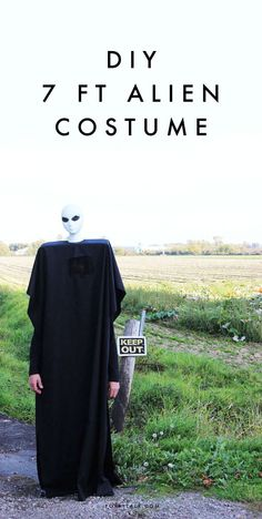 A very spooky, no-sew costume DIY using a wig head and some black broad cloth. So easy!