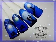 Маникюр Зимний пейзаж. Дизайн ногтей Зима: снег, елочки, река. Рисунок гель лаком - YouTube