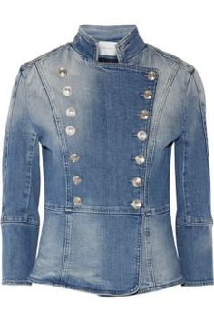 Pierre Balmain - Button-detailed denim jacket - Pierre Balmain s denim jacket has structured shoulders, raised seams and a flattering nipped-in waist. Fully lined for easy layering, it s finished with the label s signature embossed silver buttons. We like it paired with white jeans.